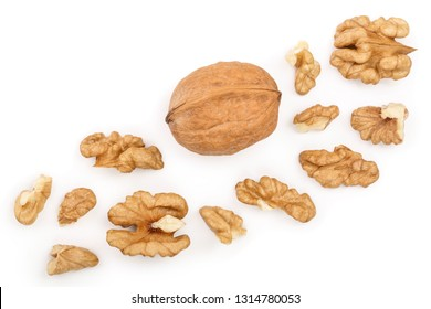 peelled Walnuts isolated on white background with copy space for your text. Top view. Flat lay