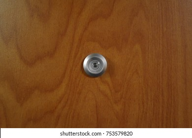 Peep hole in a wooden door. & Who Peep Hole Both Sides Door Stock Photo (100% Legal Protection ...