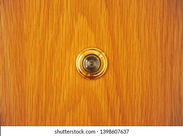 Peephole in the front door of the house