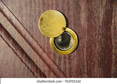 Peephole On Wooden Door   Judas Hole Spyhole.