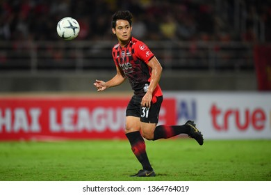 Peerapat Notchaiya of Bangkok United in action during The Football Thai League between Bangkok United and SCG Muangthong United at True Stadium on March 02,2019 in Pathum Thani, Thailand