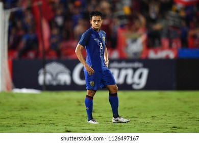 Peerapat Notchaiya No.2 (blue) of Thailand in action during 2018The International Friendly Match between Thailand and China at the Rajamangala Stadium on June 2, 2018 in Bangkok,Thailand,