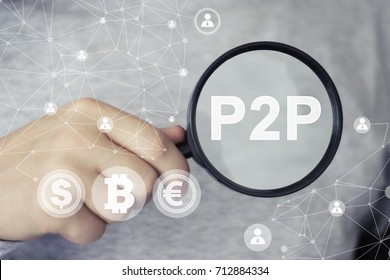 Peer-to-peer (P2P). Magnifying lens over background with text P2P, with the financial data business.