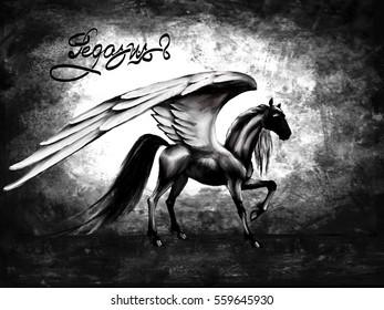 pegasus black horse, wings, fantasy pattern