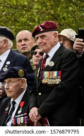 PEGASUS BRIDGE, NORMANDY, FRANCE-8thJune 2019.WW2 Veterans look on during a ceremony to remember a fallen comrade next to Pegasus Bridge.Taken at the 75th Anniversary of D-Day.