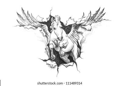 Pegasus ripped metal. Pencil drawing illustration.