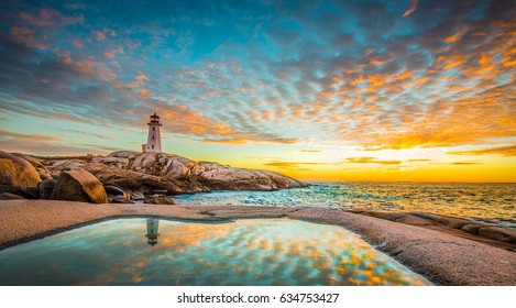 Peggy's cove lighthouse sunset ocean view landscape in Halifax, Nova Scotia