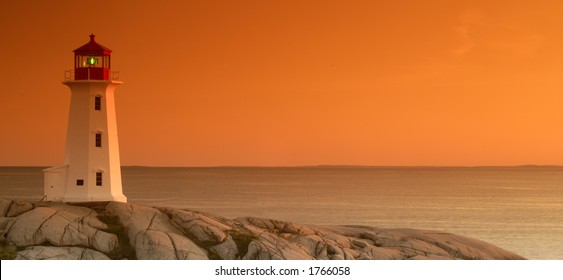 Peggy's Cove Lighthouse At Sunset Taken With A Tobacco Graduated Filter. Not A Photoshop Filter
