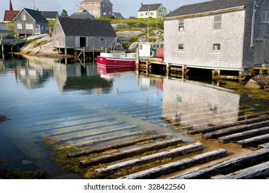 PEGGY'S COVE, NOVA SCOTIA, CANADA - JULY 10, 2015: Peggy's Cove on July 10, 2015 founded in 1811 located in eastern shore of St. Margarets Bay still depends on fishery as its main economy driver.G