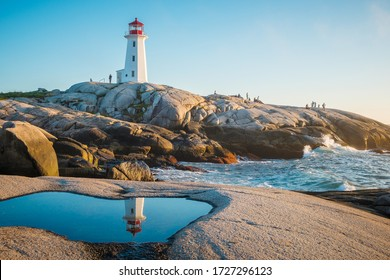 Peggy's Cove: Nova Scotia Landscape. Lighthouse reflection