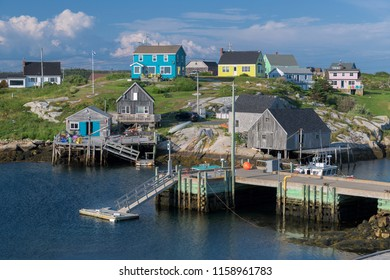 PEGGY'S COVE, NOVA SCOTIA/CANADA - July 16, 2018:  Marina and village at harbor at Peggy's Cove