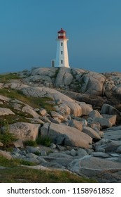 PEGGY'S COVE, NOVA SCOTIA/CANADA - July 16, 2018: Closeup of Peggy's Point, or Peggy's Cove, Lighthouse in early evening