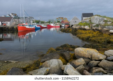 PEGGY'S COVE, NOVA SCOTIA/CANADA - July 17, 2018:  Calm harbor in the morning at Peggy's Cove