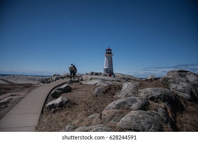 Peggy's Cove, a picturesque fishing village in Nova Scotia, Canada. A popular tourist destination featuring cottages from the 1800's and a lighthouse.