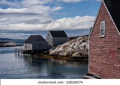 Peggy's Cove. A rustic fishing village in Nova Scotia, Canada with buildings from the 1800's. This picturesque town is a popular tourist destination near Halifax on the Atlantic Ocean.