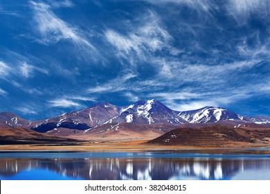 Peiku Tso Lake, Tibet. Lake is at 4,591 meters elevation on the Tibetan Plateau, 18 km south of the Yarlung Tsangpo (Brahmaputra) River.