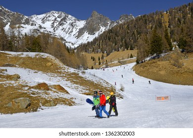 PEIO FONTI, ITALY - MARCH 20, 2019: Spring skiing in the Peio ski area. Trento Autonomous Province, Trentino Region, Upper Adige