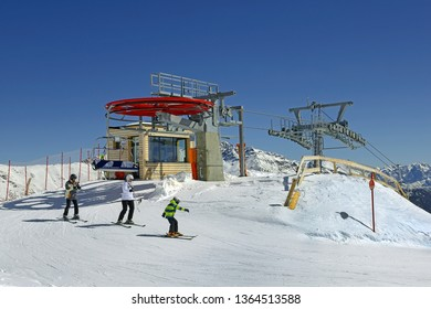 PEIO FONTI, ITALY - MARCH 20, 2019: Chairlift upper station to Cima Vioz. Spring skiing in the Peio ski area. Trento Autonomous Province, Trentino Region, Upper Adige
