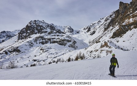 PEJO, ITALY - MARCH 8, 2017:Ski areas around Pejo on 8 March 2017 in Pejo, Italy. The ski station in Pejo is not great but thanks to that there are not many people here