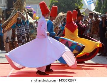 Pekalongan / Indonesia - 28 November 2018: Carnival Batik Pekalongan, Sufi dance on Pekalongan City Street