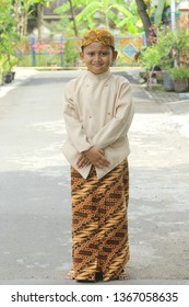 Pekalongan / Indonesia - April 21 2018: in commemoration of Kartini Day, children wear traditional clothes From Java - Indonesia