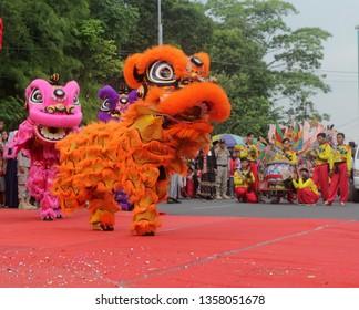 Pekalongan/Indonesia - April  01, 2019 : Barongsai, Pekalongan City 113th anniversary parade