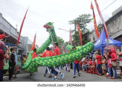 Pekalongan/Indonesia - April 08, 2018 : Barongsai parade is a culture from China in Pekalongan-indonesia -image