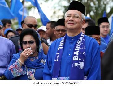 Pekan, Pahang, Malaysia - April 20, 2013: Malaysian Prime Minister Mohd Najib Razak and wife Rosmah Mansor during an election campaign.