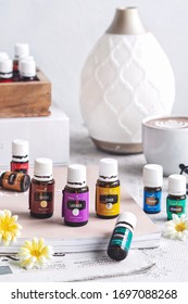 Pekanbaru, Indonesia - April 08 2020 ; Variety of Young Living Essential Oil. Selective focus. White background.