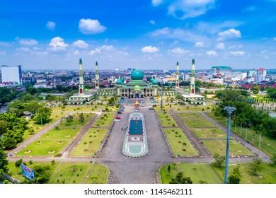 Pekanbaru / Indonesia - October 03, 2017: Aerial View of An Nur Great Mosque Pekanbaru with Blue sky