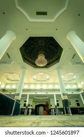 Pekanbaru, Riau / Indonesia - 19th 06 2013: The Dome and the Chandelier as an Interior Design of Masjid Agung An Nur (An Nur Grand Mosque)