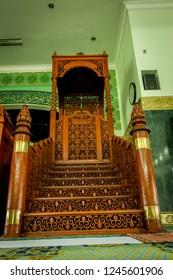 Pekanbaru, Riau / Indonesia - 19th 06 2013: The Interior Design of Mihrab in Masjid Agung An Nur (An Nur Grand Mosque)