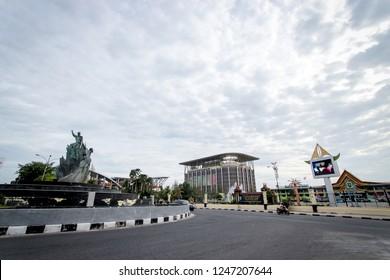 Pekanbaru, Riau / Indonesia - June 17, 2013: Tugu Tarian Rakyat or Zapin Dance Monument Pekanbaru