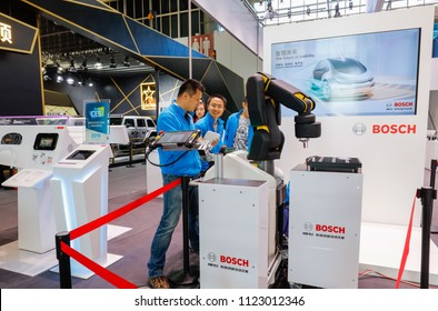 PEKING CHINA-May 3, 2016:Beijing's intelligent exhibition, BOSCH's interconnected and automated transportation technology.Bosch is a German multinational engineering and electronics company.
