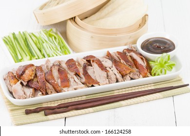 Peking Duck - Chinese roast crispy duck served with hoisin sauce, pancakes, cucumber and spring onions.