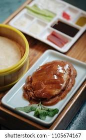 Peking duck served in restaurant