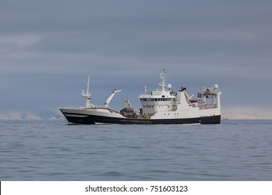 Pelagic fishing vessel in calm Icelandic waters.