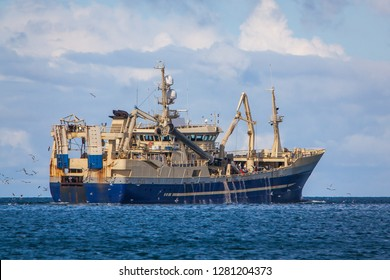 Pelagic fishing vessel at north Atlantic ocean.