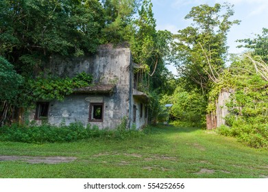 PELELIU, PALAU - DECEMBER 13, 2016: War Heritage in Peleliu, Palau Island. Japanese Headquarter