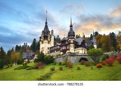 Peles Castle, Romania. Beautiful famous royal castle and ornamental garden in Sinaia landmark of Carpathian Mountains in Europe at sunset. Former Home Of The Romanian Royal Family.