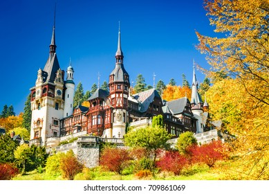 Peles Castle, Romania. Famous Neo-Renaissance castle and ornamental garden in Sinaia, Carpathian Mountains in Europe.