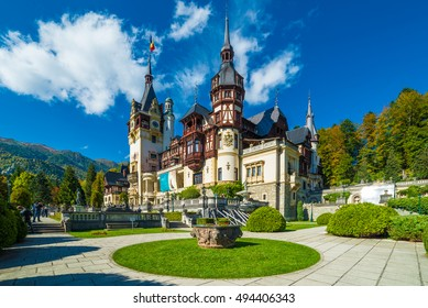 Peles castle Sinaia in autumn season, Transylvania, Romania protected by Unesco World Heritage Site