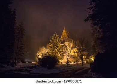 the Peles Castle in Sinaia at nightthe Peles Castle in Sinaia at night