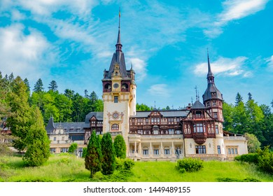 Peles castle. Sinaia, Romania June, 9th, 2019. Peleș Castle is a beautiful neo- Renaissance castle in Sinaia, Romania. the castle is surrounded by beautiful carpathian mountains.