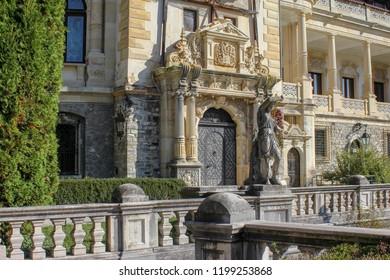 Peles castle, Sinaia, Romania october 02 2018: Peles Castle in Sinaia, Carpathian mountains, Brasov region, Romania