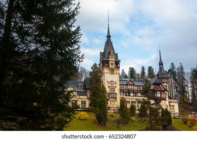 Peles castle, Sinaia, Romania on a beautiful autumn day.