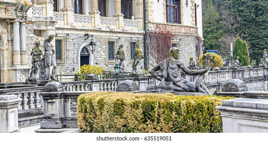 The Peles Castle from Sinaia Romania, outdoor detail.