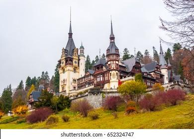 Peles castle, Sinaia, Romania.Overcast on a beautiful autumn day.
