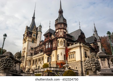 Peles castle, Sinaia, Romania.Overcast on a beautiful autumn day. Tight view.