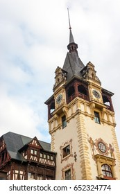 Peles castle, Sinaia, Romania.Overcast on a beautiful autumn day.Clock tower.